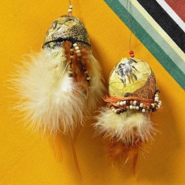 Яйца, украсени с декупаж със салфетки и пера