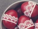 Украсяване на великденски яйца с дантела